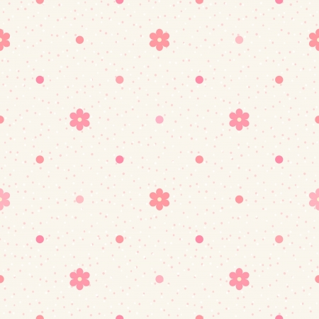 Retro seamless pattern  Pink flowers and dots on beige background Vector