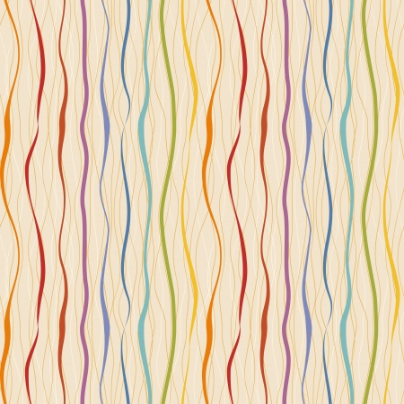 Vertical wavy stripes and lines  Retro seamless pattern Иллюстрация