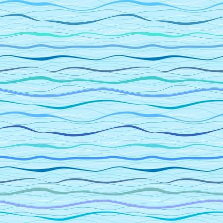 Horizontal blue wavy stripes and lines  Retro seamless pattern Vector
