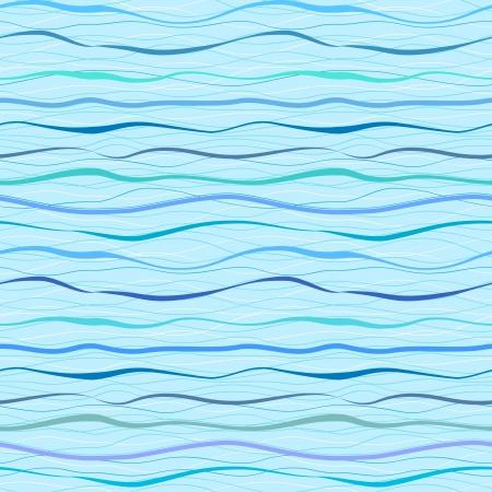 Horizontal blue wavy stripes and lines  Retro seamless pattern