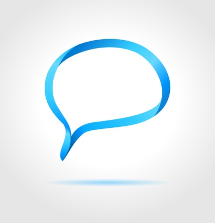 gray strip: Oval blue speech bubble made from bended lines with copy space  Trendy origami style