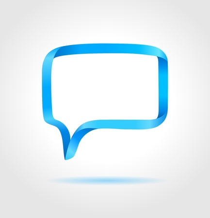 talking bubble: Rectangle blue speech bubble made from bended lines with copy space  Trendy origami style