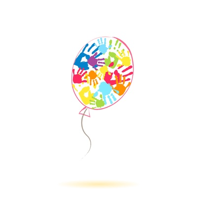 Kleurrijke ballon van de handafdrukken van ouders en kinderen