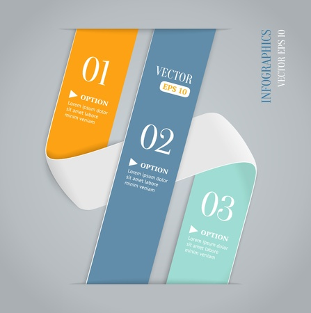 Colored bended lines with numbers on gray background  Trendy origami style options banner  Can be used for numbered options, web design, infographics  Stock Vector - 19497413