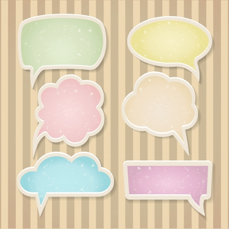 speech marks: Set of color frayed speech bubbles Illustration