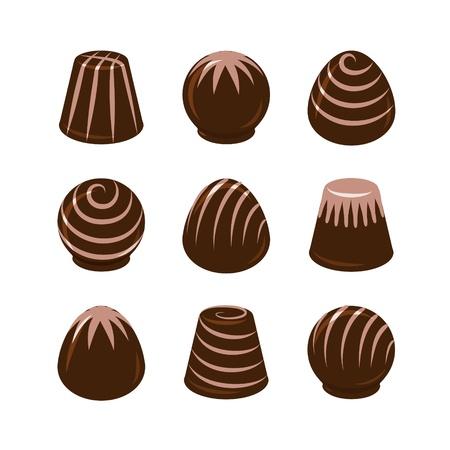 truffe blanche: Ensemble de vecteur de bonbons de chocolat isolé sur fond blanc