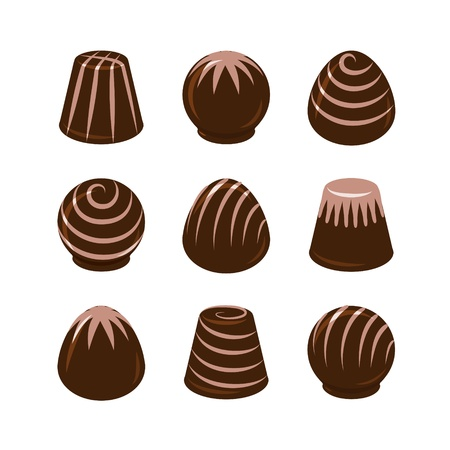 chocolate truffle: Vector set of chocolate candies isolated on white background