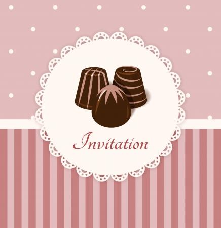 Vintage vector uitnodigingskaart met chocolade snoepjes