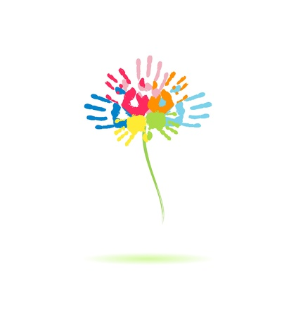 Colorful flower of the handprints of parents and children Vector