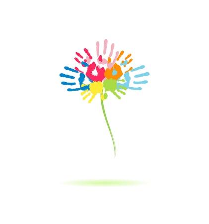Flor colorida de las huellas de las manos de los padres y los niños Ilustración de vector