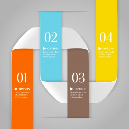 Colored bended lines with numbers on gray background  Trendy origami style options banner  Can be used for numbered options, web design, infographics  Vector