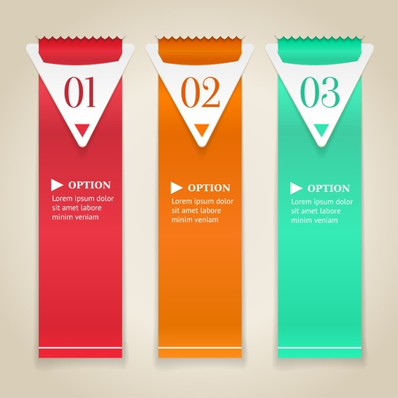 Modern numbered options banners  Vertical color ribbon with arrows  Vector illustration Stock Vector - 19726314