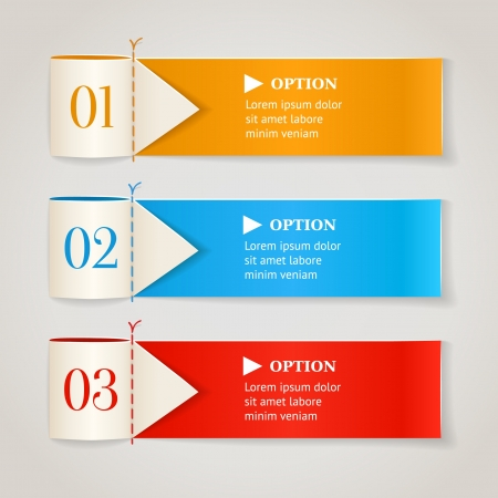 Modern numbered options banners  Horizontal color ribbon with arrows  Vector illustration Stock Vector - 19726311