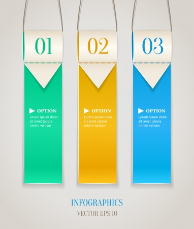 Modern numbered options banners  Vertical hanging color ribbon with arrows  Vector illustration  Vector