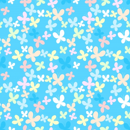 Blue seamless pattern with color butterfly  Vector