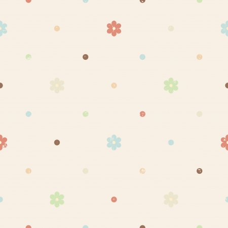 Vintage textured seamless pattern with flowers and polka dots