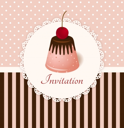 Vintage vector invitation card with cherry chocolate jelly cake