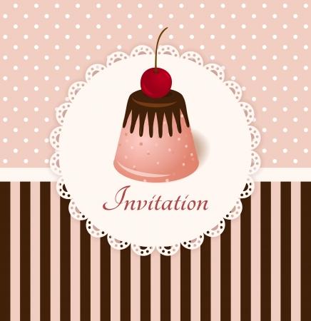 Vintage vector uitnodigingskaart met kersen chocolade geleicake