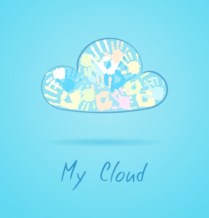 Cloud made from color hands on blue background Stock Vector - 19937632