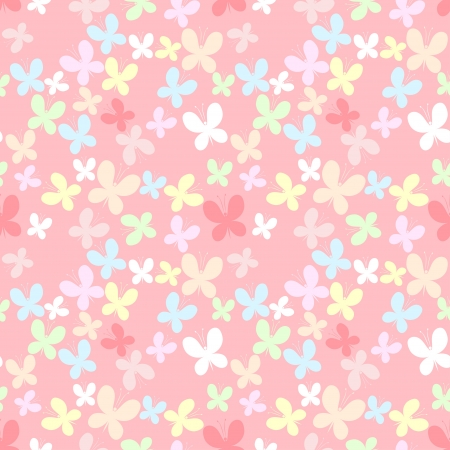 Pink seamless pattern with color butterfly  矢量图像