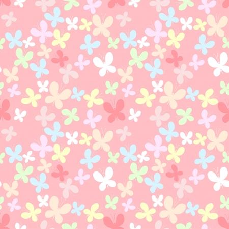 Roze naadloze patroon met kleur vlinder Stock Illustratie