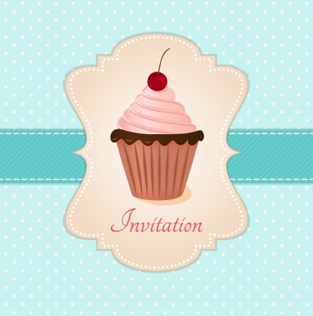 Vintage card with cherry cupcake  illustration  Vector