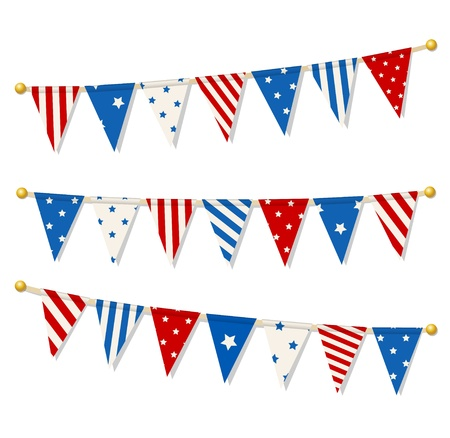 Set of triangle bunting flags in american national flag color gamut  illustration