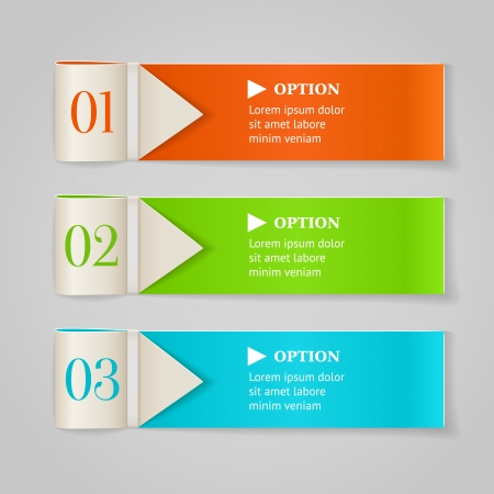 description: Modern numbered options banners  Horizontal color ribbon with arrows illustration