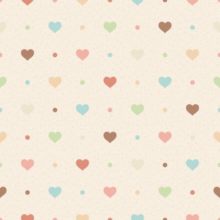 Retro naadloze patroon Kleur harten en stippen op beige geweven achtergrond
