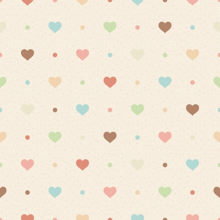 Retro seamless pattern  Color hearts and dots on beige textured background Vector