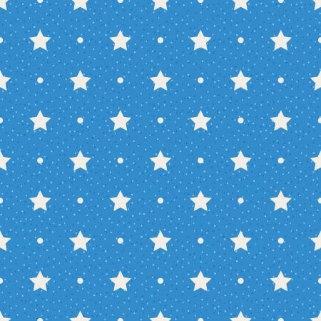 星と青の背景シームレス テクスチャ ポルカドット パターン上のドット
