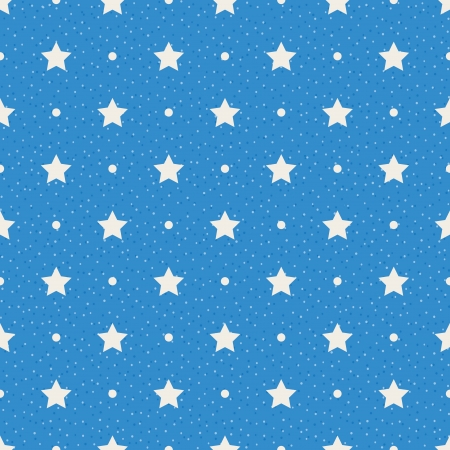 Sterren en stippen op blauwe achtergrond Naadloze structuur stippenpatroon Stock Illustratie