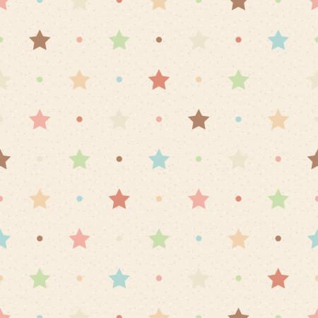 Retro naadloos patroon Kleur sterren en stippen op beige geweven achtergrond
