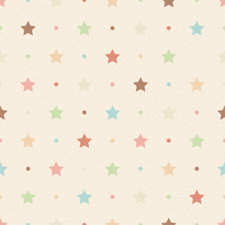 Retro seamless pattern  Color stars and dots on beige textured background Vector