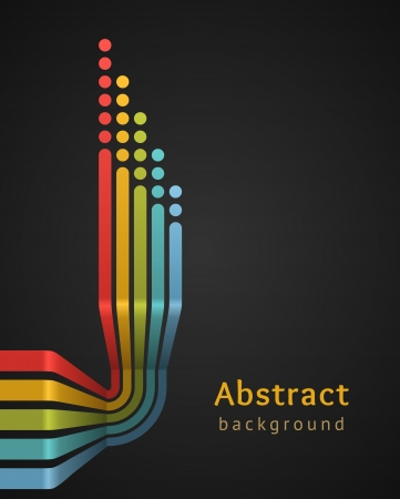 Colored stripes with circles on black background  design template  Vector