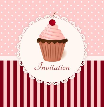 Tarjeta de invitación de la vendimia con la cereza pastel de crema Ilustración de vector