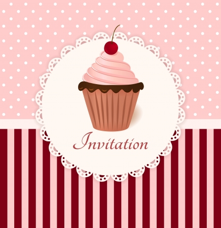 cupcake illustration: Vintage invitation card with cherry cream cake