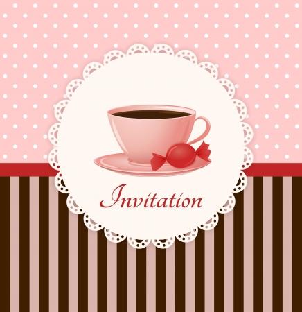 Tarjeta de invitación vector vintage con la taza de bebida caliente y dulces Foto de archivo - 20598745