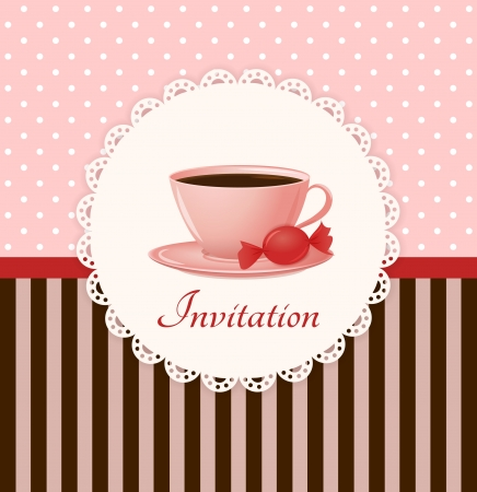 Vintage vector invitation card with cup of hot drink and candy