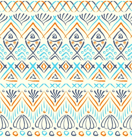 Tribal sea ethnic seamless pattern Vector