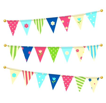 triangle flag: Vector triangle bunting flags with flowers Illustration