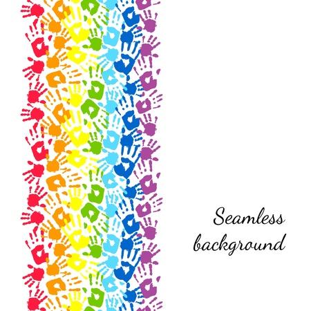 手の抽象的なベクトルの背景から作られた虹
