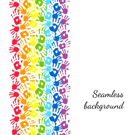 Rainbow made from hands  Abstract vector background Vector