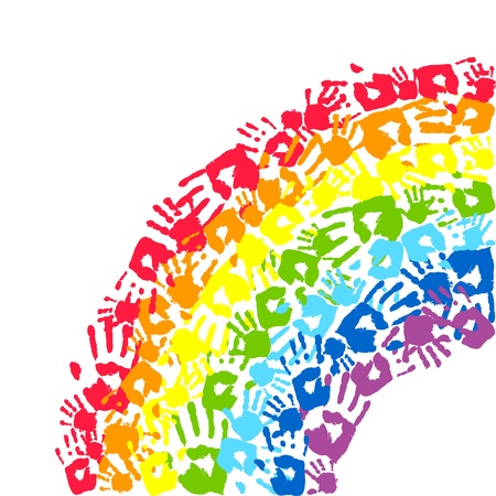 traces: Rainbow made from hands  Abstract vector background