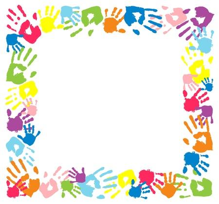 empreinte de main: Cadre en empreintes de couleurs