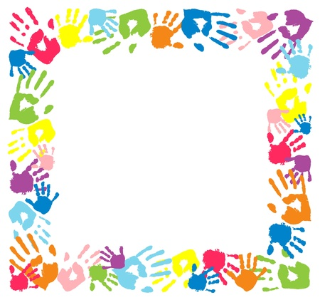 niÑos contentos: Capítulo hecho de huellas de las manos de color Vectores