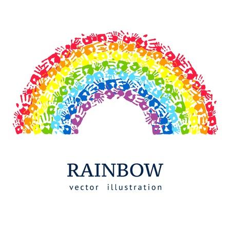 抽象的な背景の手から作られた虹  イラスト・ベクター素材
