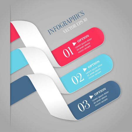 Colored bended lines with numbers on gray background  Trendy origami style options banner  Can be used for numbered options, web design, infographics Stock Vector - 20980667