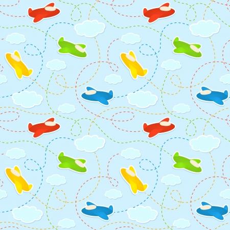 雲と飛行機のステッカーと青のシームレスなパターン