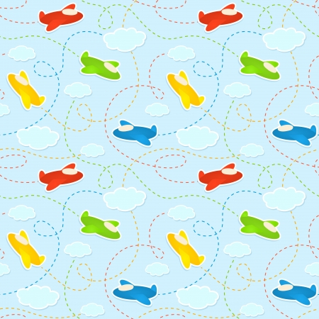 Blue seamless pattern with clouds and airplane stickers  Illustration